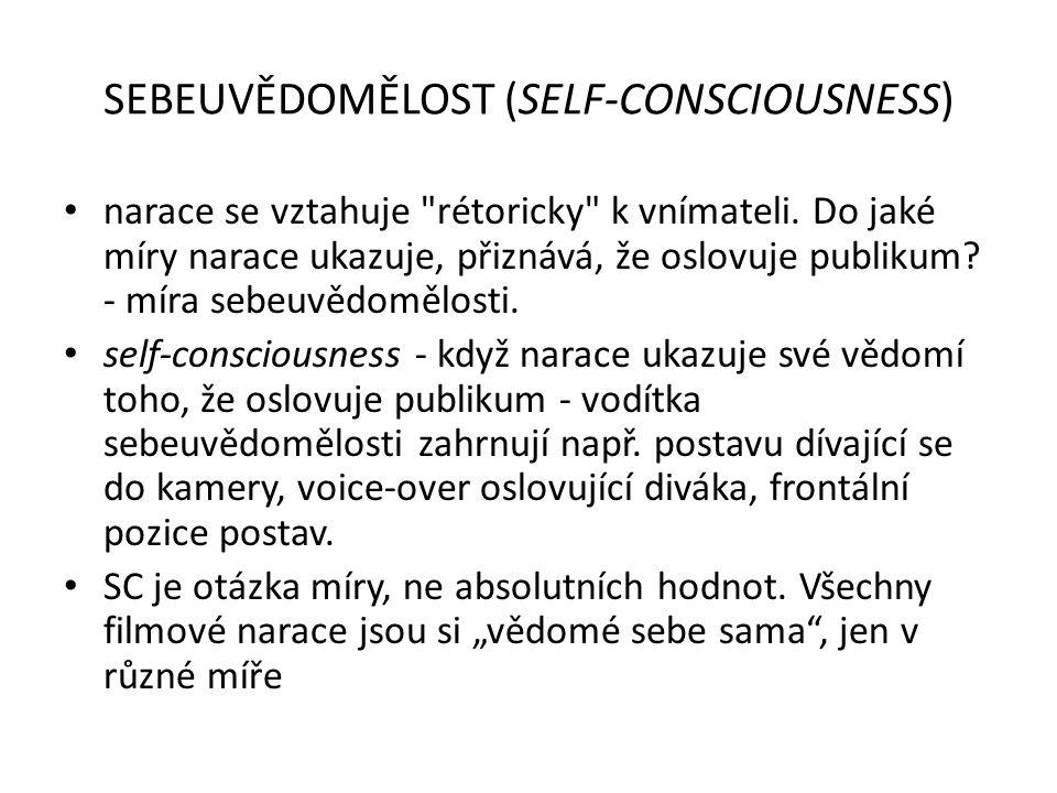 SEBEUVĚDOMĚLOST (SELF-CONSCIOUSNESS) narace se vztahuje rétoricky k vnímateli.