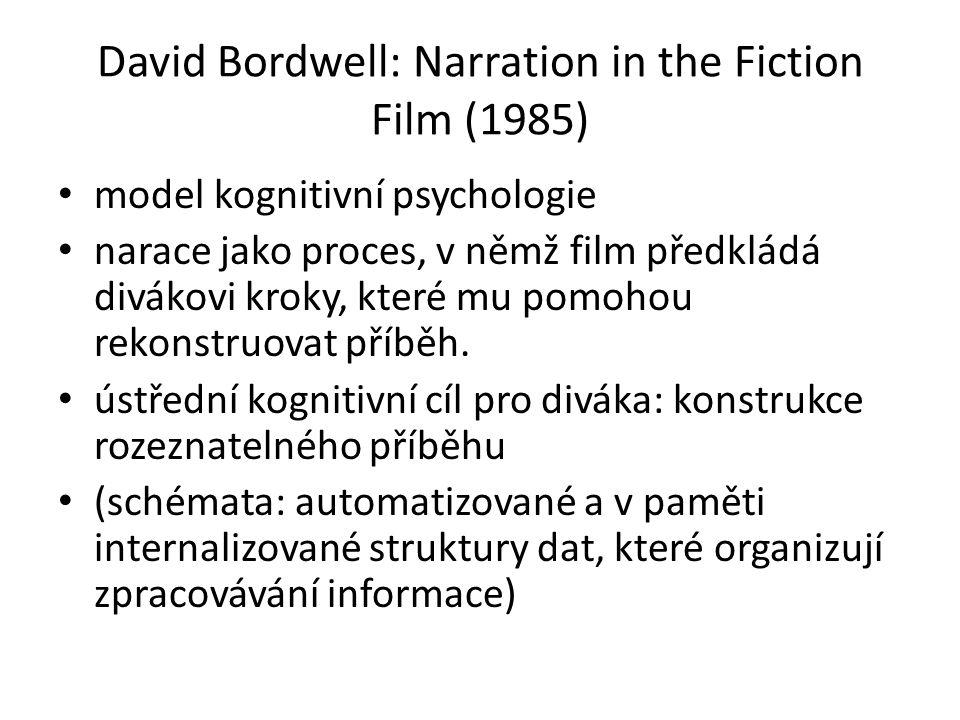 David Bordwell: Narration in the Fiction Film (1985) model kognitivní psychologie narace jako proces, v němž film předkládá divákovi kroky, které mu pomohou rekonstruovat příběh.