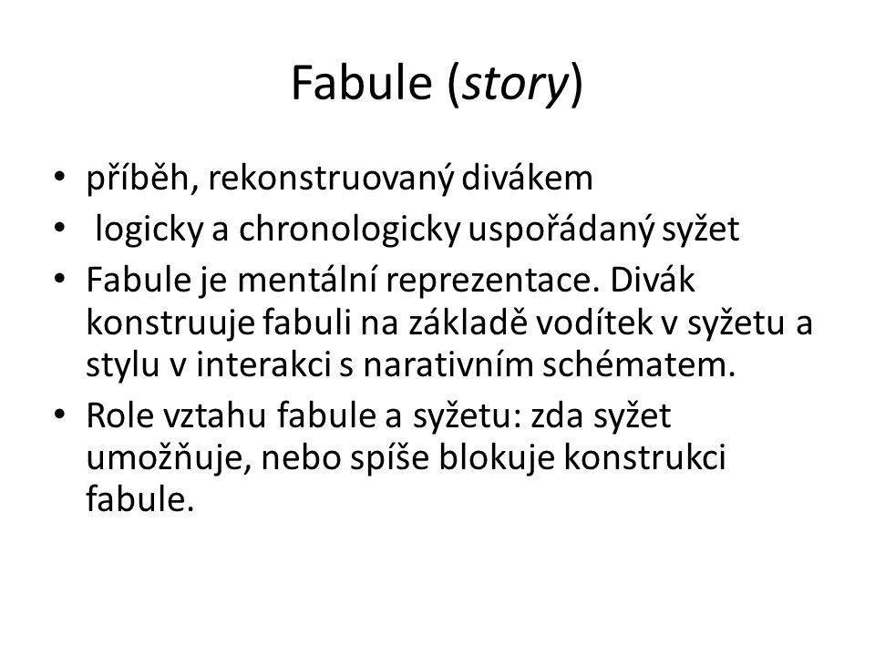 Fabule (story) příběh, rekonstruovaný divákem logicky a chronologicky uspořádaný syžet Fabule je mentální reprezentace. Divák konstruuje fabuli na zák