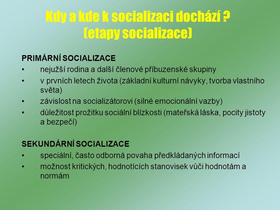 Kdy a kde k socializaci dochází .