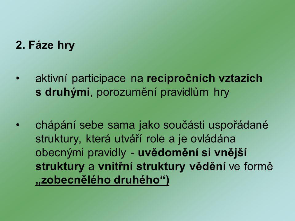 2. Fáze hry aktivní participace na recipročních vztazích s druhými, porozumění pravidlům hry chápání sebe sama jako součásti uspořádané struktury, kte