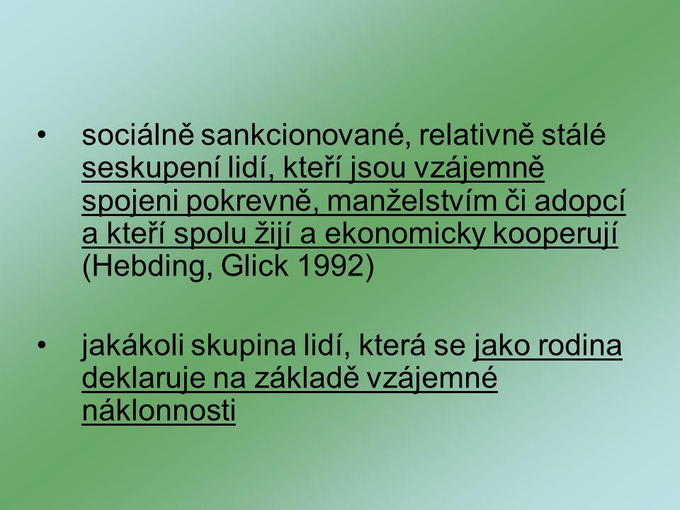sociálně sankcionované, relativně stálé seskupení lidí, kteří jsou vzájemně spojeni pokrevně, manželstvím či adopcí a kteří spolu žijí a ekonomicky kooperují (Hebding, Glick 1992) jakákoli skupina lidí, která se jako rodina deklaruje na základě vzájemné náklonnosti