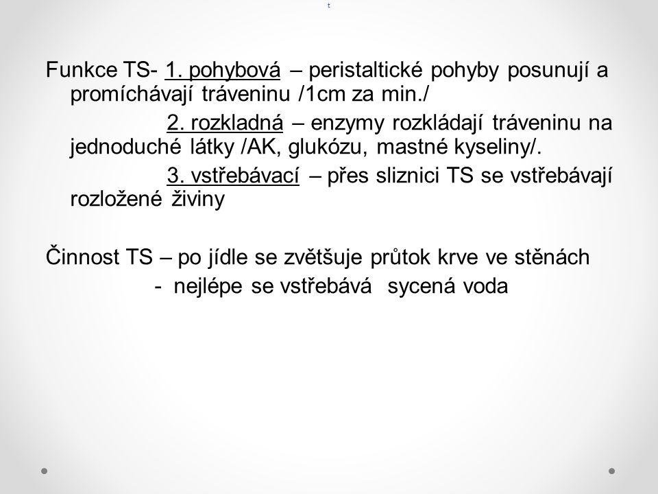 t Funkce TS- 1. pohybová – peristaltické pohyby posunují a promíchávají tráveninu /1cm za min./ 2.