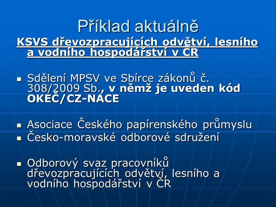 Příklad aktuálně KSVS dřevozpracujících odvětví, lesního a vodního hospodářství v ČR Sdělení MPSV ve Sbírce zákonů č.