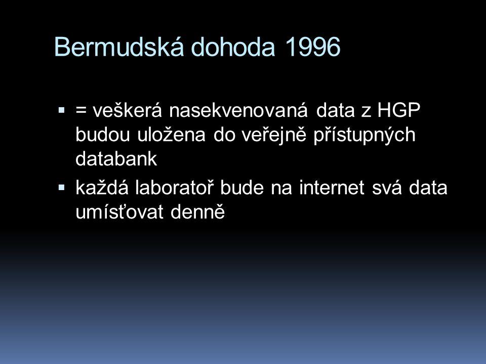 Bermudská dohoda 1996  = veškerá nasekvenovaná data z HGP budou uložena do veřejně přístupných databank  každá laboratoř bude na internet svá data umísťovat denně