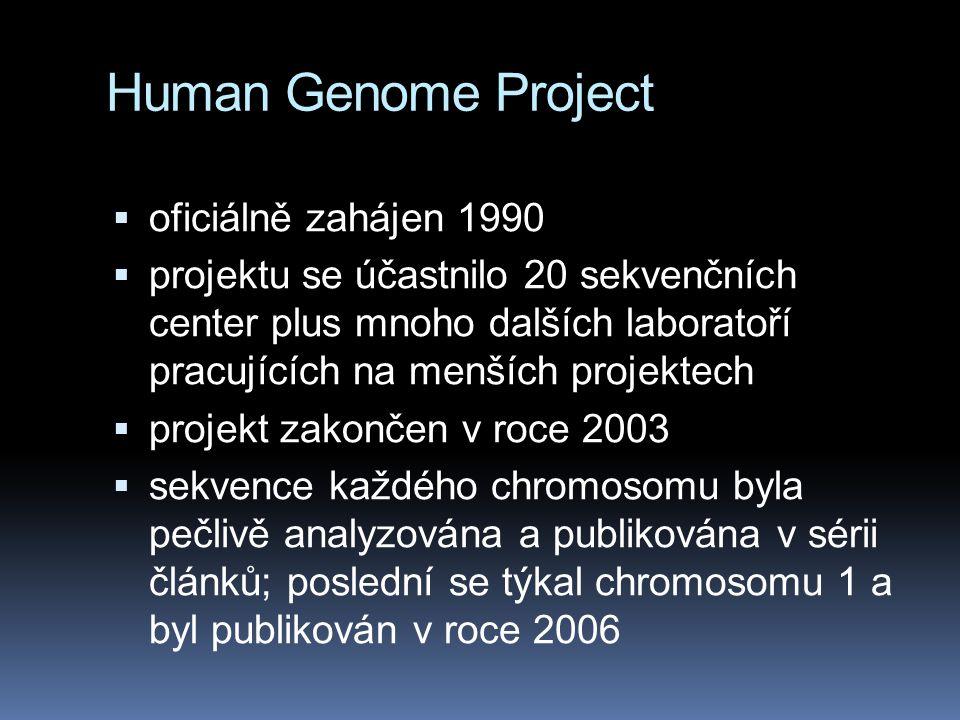 Human Genome Project  oficiálně zahájen 1990  projektu se účastnilo 20 sekvenčních center plus mnoho dalších laboratoří pracujících na menších projektech  projekt zakončen v roce 2003  sekvence každého chromosomu byla pečlivě analyzována a publikována v sérii článků; poslední se týkal chromosomu 1 a byl publikován v roce 2006