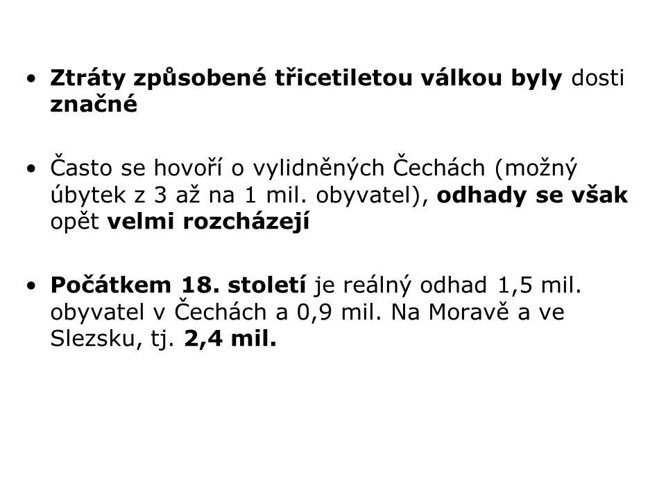 Ztráty způsobené třicetiletou válkou byly dosti značné Často se hovoří o vylidněných Čechách (možný úbytek z 3 až na 1 mil. obyvatel), odhady se však