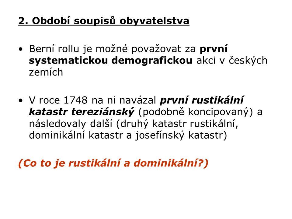 2. Období soupisů obyvatelstva Berní rollu je možné považovat za první systematickou demografickou akci v českých zemích V roce 1748 na ni navázal prv