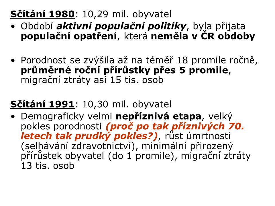 Sčítání 1980: 10,29 mil. obyvatel Období aktivní populační politiky, byla přijata populační opatření, která neměla v ČR obdoby Porodnost se zvýšila až