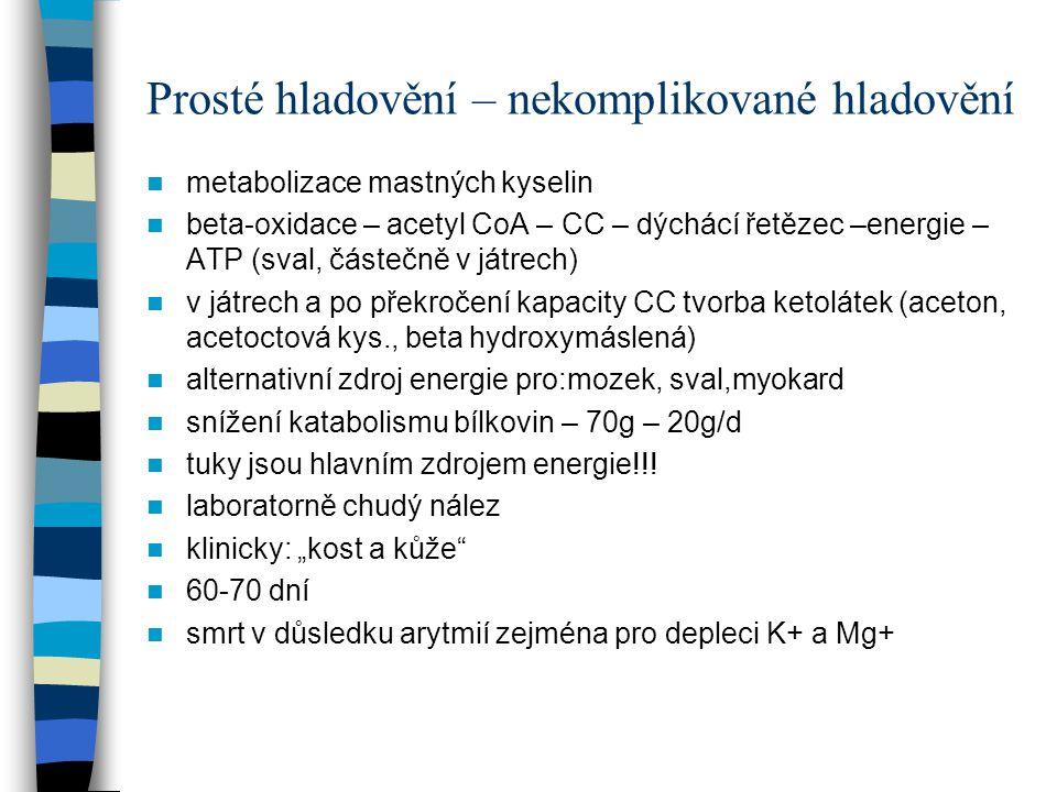 Prosté hladovění – nekomplikované hladovění metabolizace mastných kyselin beta-oxidace – acetyl CoA – CC – dýchácí řetězec –energie – ATP (sval, částečně v játrech) v játrech a po překročení kapacity CC tvorba ketolátek (aceton, acetoctová kys., beta hydroxymáslená) alternativní zdroj energie pro:mozek, sval,myokard snížení katabolismu bílkovin – 70g – 20g/d tuky jsou hlavním zdrojem energie!!.