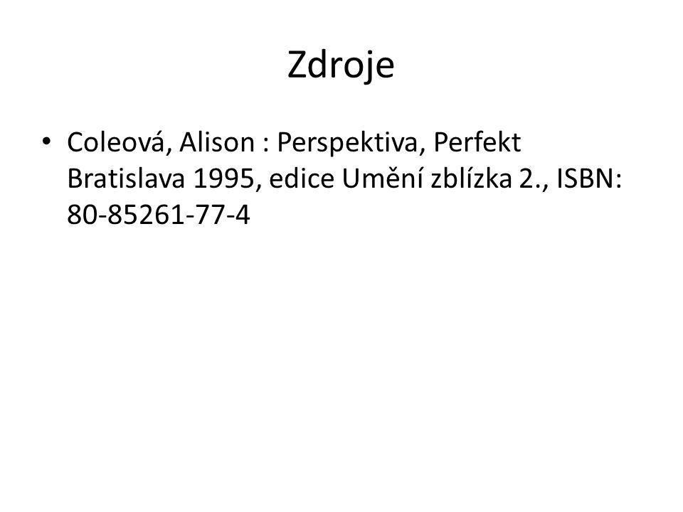 Zdroje Coleová, Alison : Perspektiva, Perfekt Bratislava 1995, edice Umění zblízka 2., ISBN: 80-85261-77-4