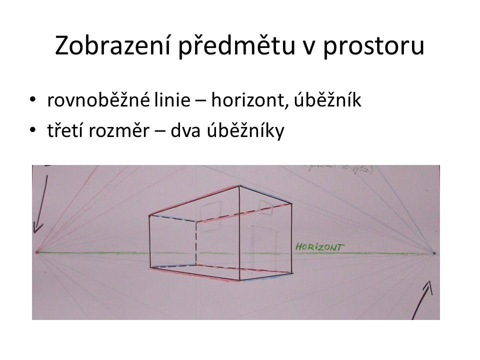 Zobrazení předmětu v prostoru rovnoběžné linie – horizont, úběžník třetí rozměr – dva úběžníky