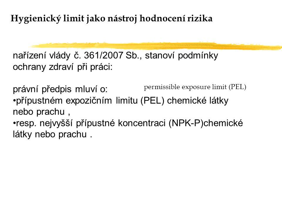 Hygienický limit jako nástroj hodnocení rizika nařízení vlády č. 361/2007 Sb., stanoví podmínky ochrany zdraví při práci: právní předpis mluví o: příp