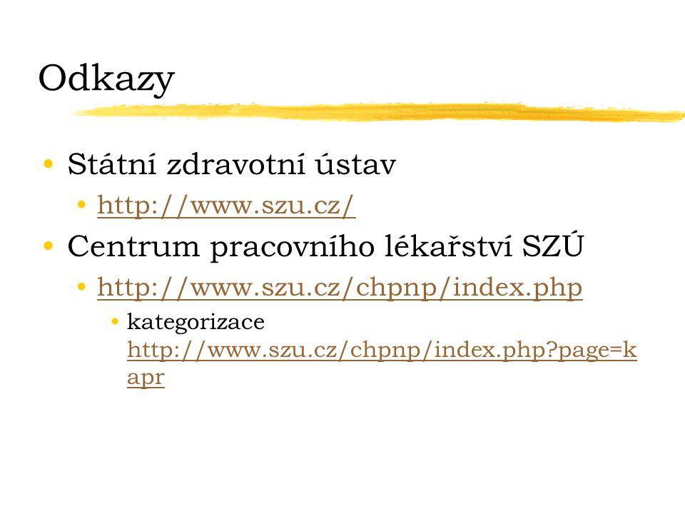 Odkazy Státní zdravotní ústav http://www.szu.cz/ Centrum pracovního lékařství SZÚ http://www.szu.cz/chpnp/index.php kategorizace http://www.szu.cz/chp