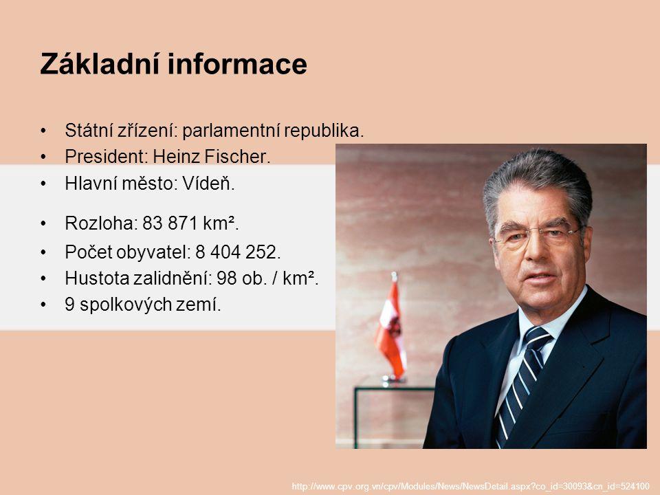 Základní informace Státní zřízení: parlamentní republika. President: Heinz Fischer. Hlavní město: Vídeň. Rozloha: 83 871 km². Počet obyvatel: 8 404 25