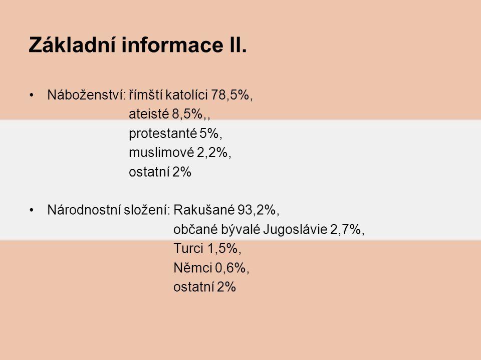 Základní informace ll. Náboženství: římští katolíci 78,5%, ateisté 8,5%,, protestanté 5%, muslimové 2,2%, ostatní 2% Národnostní složení: Rakušané 93,