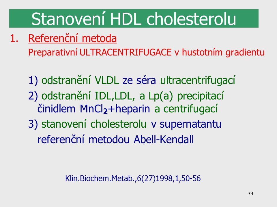 34 Stanovení HDL cholesterolu 1.Referenční metoda Preparativní ULTRACENTRIFUGACE v hustotním gradientu 1) odstranění VLDL ze séra ultracentrifugací 2) odstranění IDL,LDL, a Lp(a) precipitací činidlem MnCl 2 +heparin a centrifugací 3) stanovení cholesterolu v supernatantu referenční metodou Abell-Kendall Klin.Biochem.Metab.,6(27)1998,1,50-56