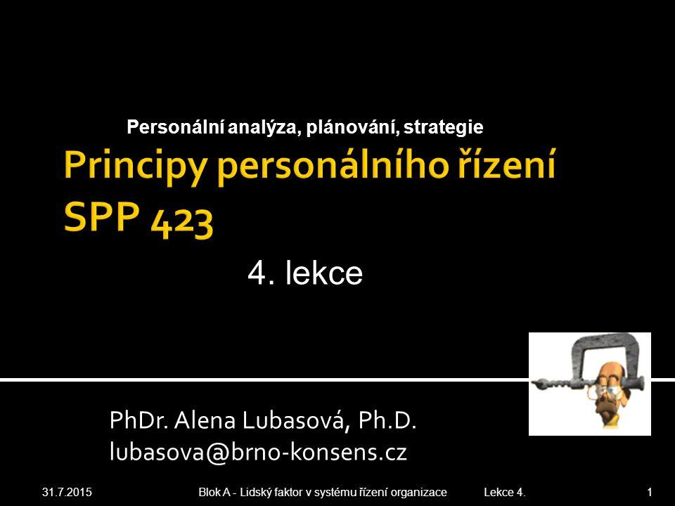 1.1 Vize, mise, strategické cíle a globální strategie zvolené organizace 1.2 Definice očekávaných úzkých míst 2.1 Návrh organizační struktury 2.2 Prvky technického a sociálního subsystém organizace 3.1 Analýza (SWOT nebo portfoliová) navržené organizace snímek 3.2 Vymezení oblastí pro formulaci personální strategie a jejich zdůvodnění 3.3 Model personálního řízení 3.4 Etický kodex personálního řízení 4.1 Oblasti personální politiky a zdůvodnění formy 4.2 2 pravidla personální politiky 4.3 Aspekty psychologické smlouvy 31.7.2015 Blok A - Lidský faktor v systému řízení organizace Lekce 4.