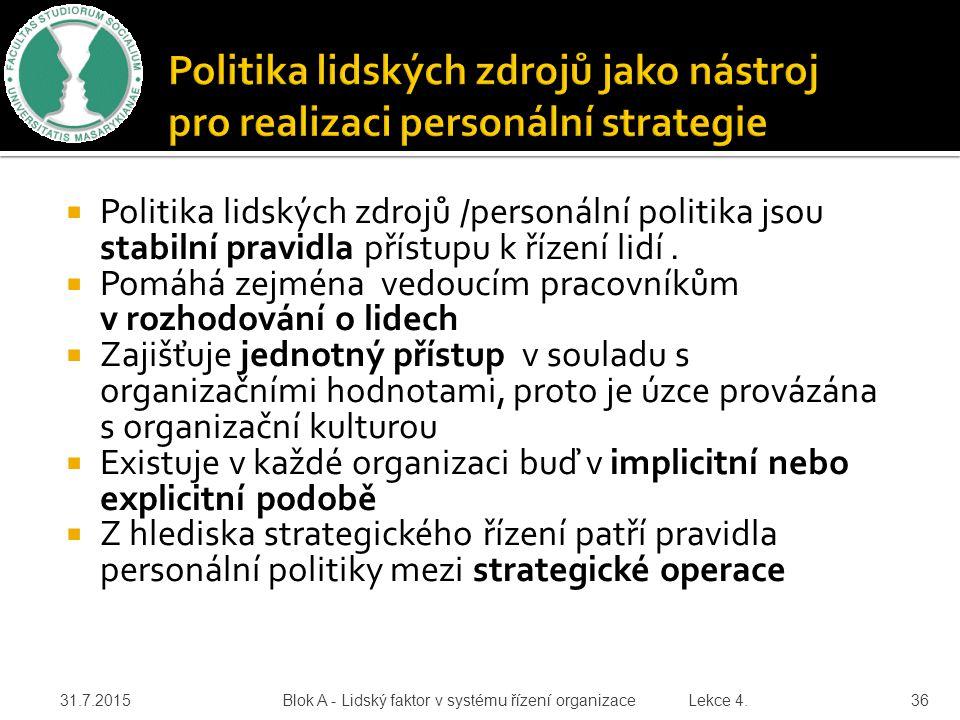  Politika lidských zdrojů /personální politika jsou stabilní pravidla přístupu k řízení lidí.  Pomáhá zejména vedoucím pracovníkům v rozhodování o l