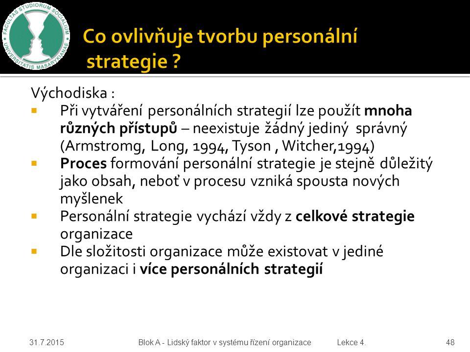 Východiska :  Při vytváření personálních strategií lze použít mnoha různých přístupů – neexistuje žádný jediný správný (Armstromg, Long, 1994, Tyson,