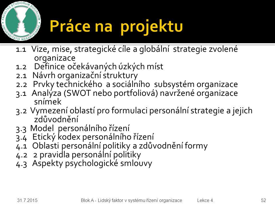1.1 Vize, mise, strategické cíle a globální strategie zvolené organizace 1.2 Definice očekávaných úzkých míst 2.1 Návrh organizační struktury 2.2 Prvk