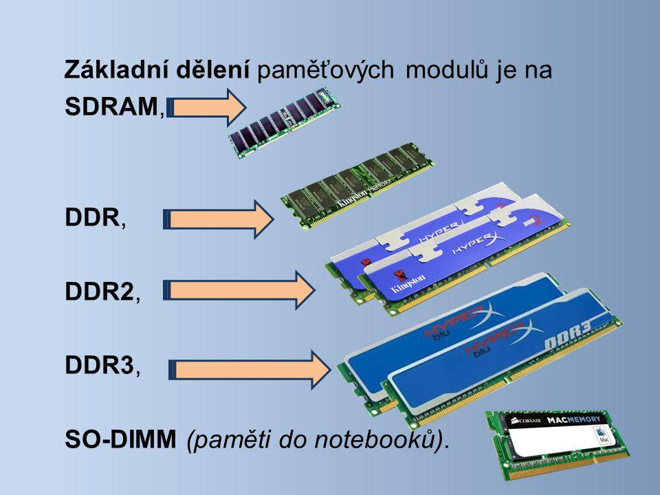 Základní dělení paměťových modulů je na SDRAM, DDR, DDR2, DDR3, SO-DIMM (paměti do notebooků).