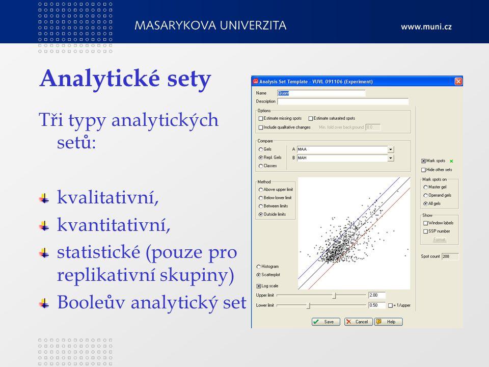 Analytické sety Tři typy analytických setů: kvalitativní, kvantitativní, statistické (pouze pro replikativní skupiny) Booleův analytický set
