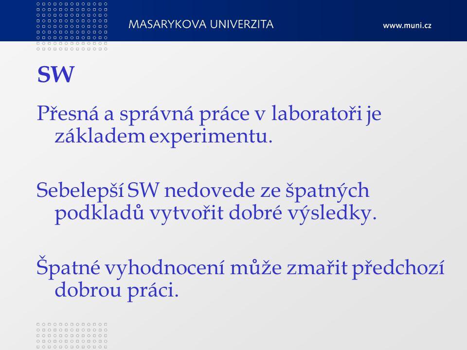 SW Přesná a správná práce v laboratoři je základem experimentu.