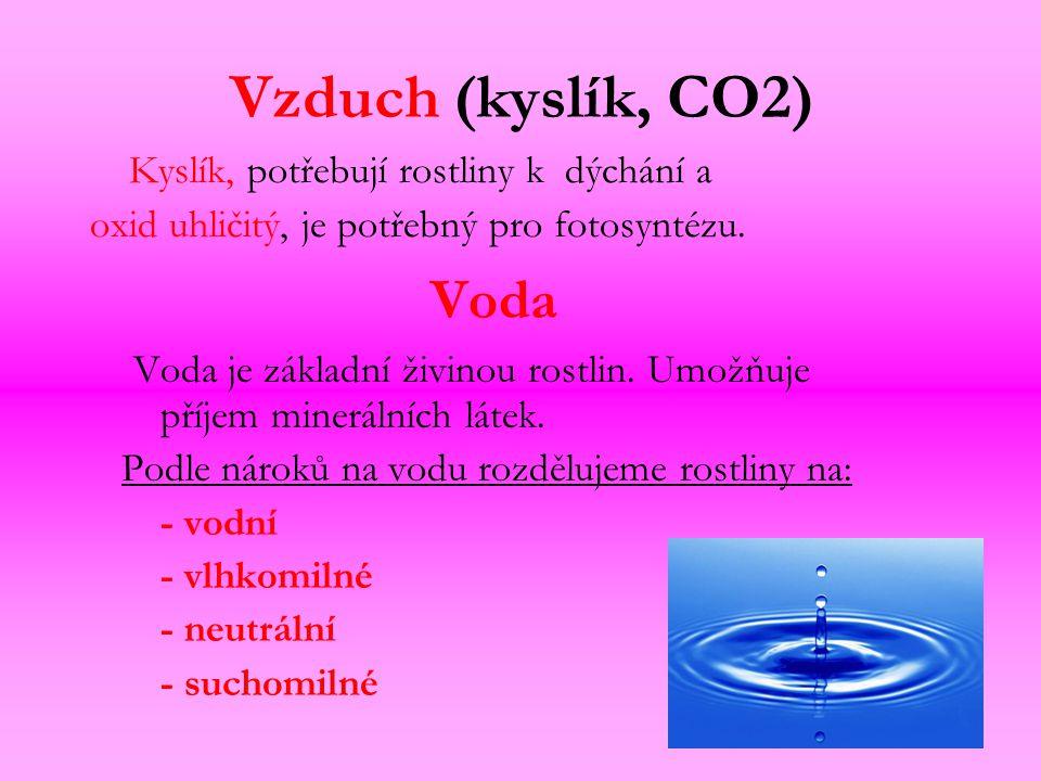 Vzduch (kyslík, CO2) Kyslík, potřebují rostliny k dýchání a oxid uhličitý, je potřebný pro fotosyntézu. Voda Voda je základní živinou rostlin. Umožňuj