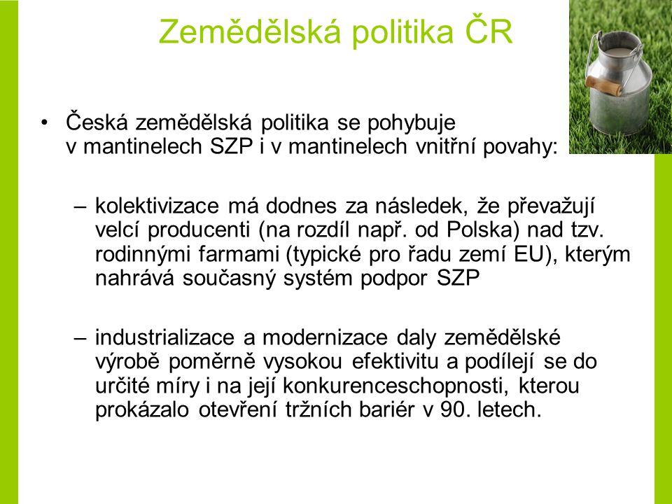 Zemědělská politika ČR Česká zemědělská politika se pohybuje v mantinelech SZP i v mantinelech vnitřní povahy: –kolektivizace má dodnes za následek, že převažují velcí producenti (na rozdíl např.