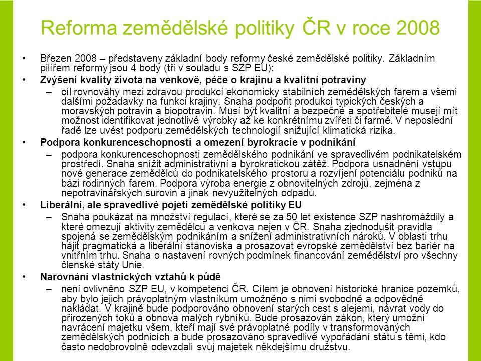 Reforma zemědělské politiky ČR v roce 2008 Březen 2008 – představeny základní body reformy české zemědělské politiky.