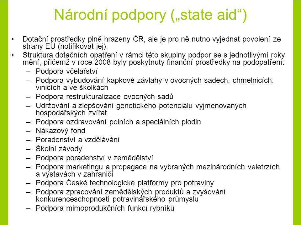 """Národní podpory (""""state aid ) Dotační prostředky plně hrazeny ČR, ale je pro ně nutno vyjednat povolení ze strany EU (notifikovat jej)."""