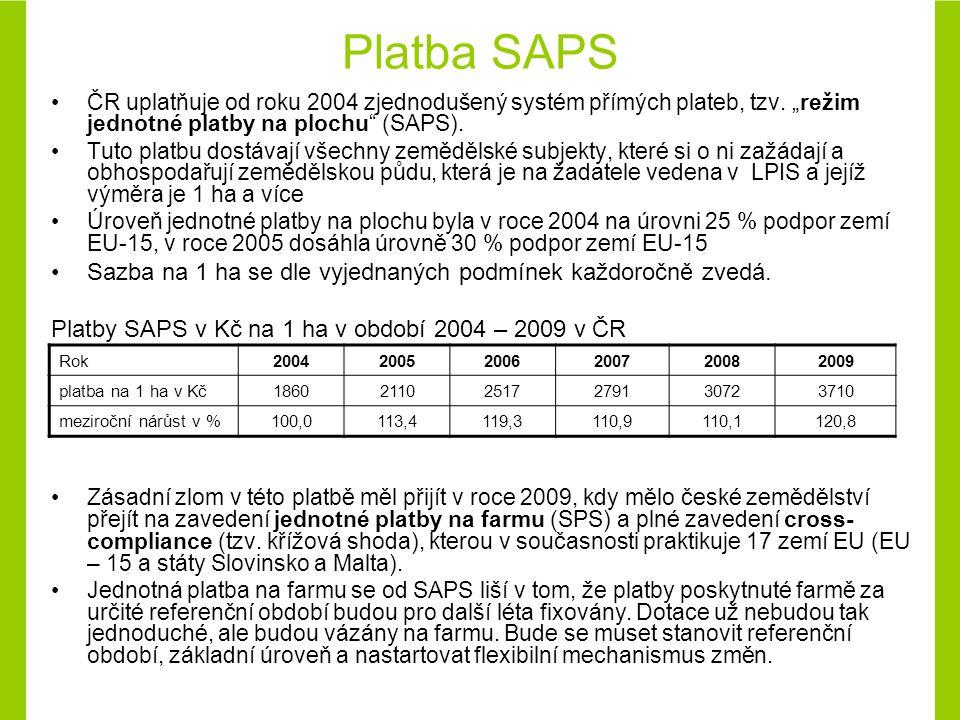Platba SAPS ČR uplatňuje od roku 2004 zjednodušený systém přímých plateb, tzv.