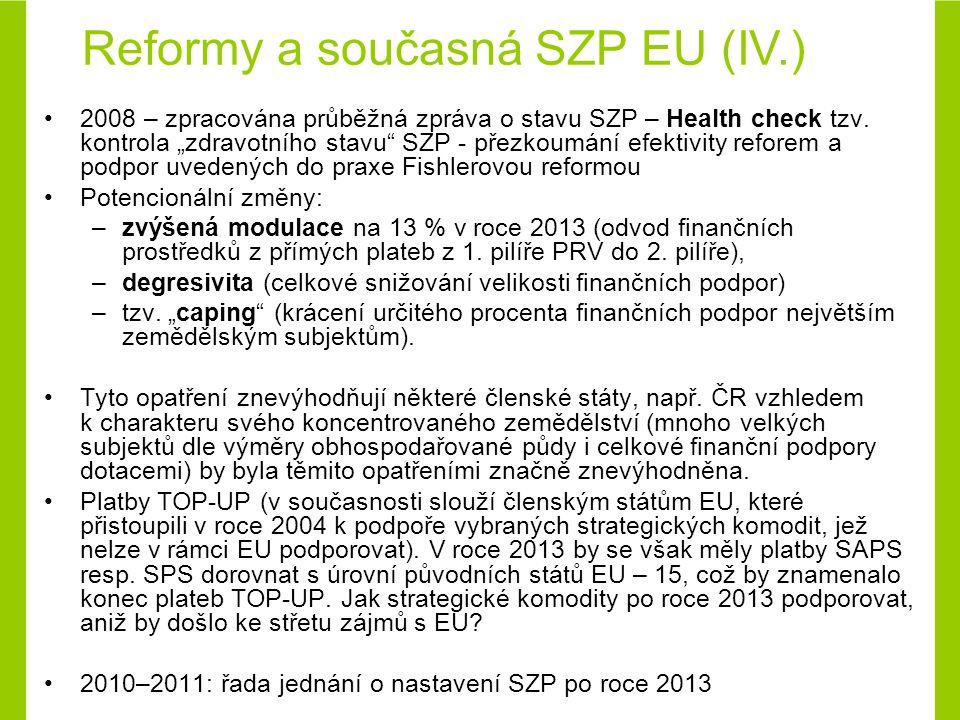 Principy fungování současné SZP Současná SZP založena na fungování 3 základních principů: –fungovaní jednotného zemědělského trhu v rámci EU –zvýhodnění produkce ze zemí EU (ochranná cla, vývozní dotace) –finanční solidarita Dalším významným faktem fungování SZP je tzv.