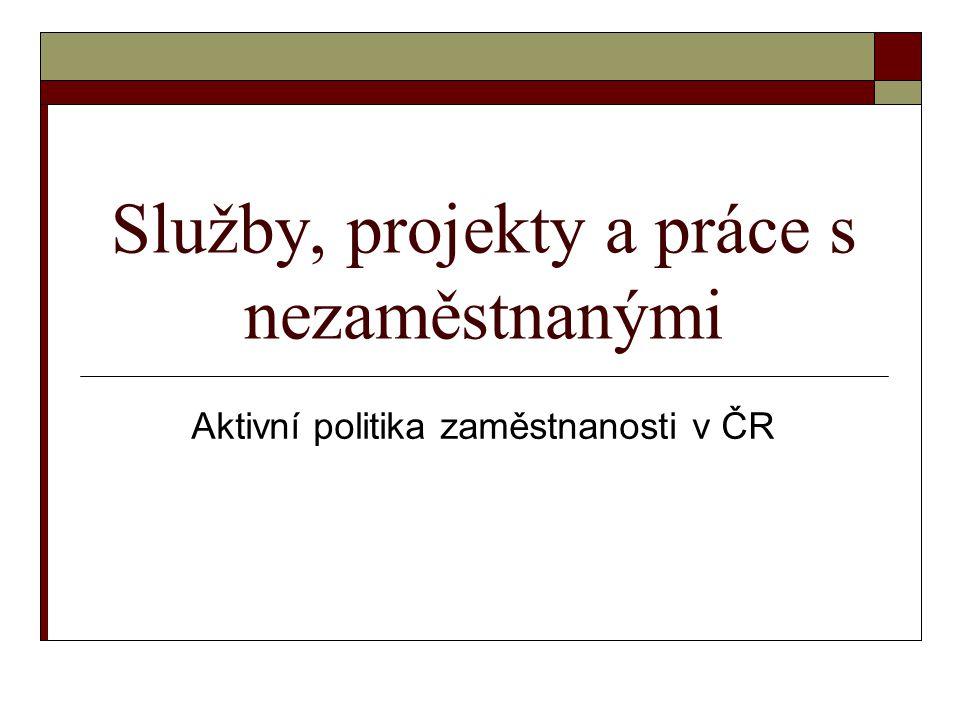 Služby, projekty a práce s nezaměstnanými Aktivní politika zaměstnanosti v ČR
