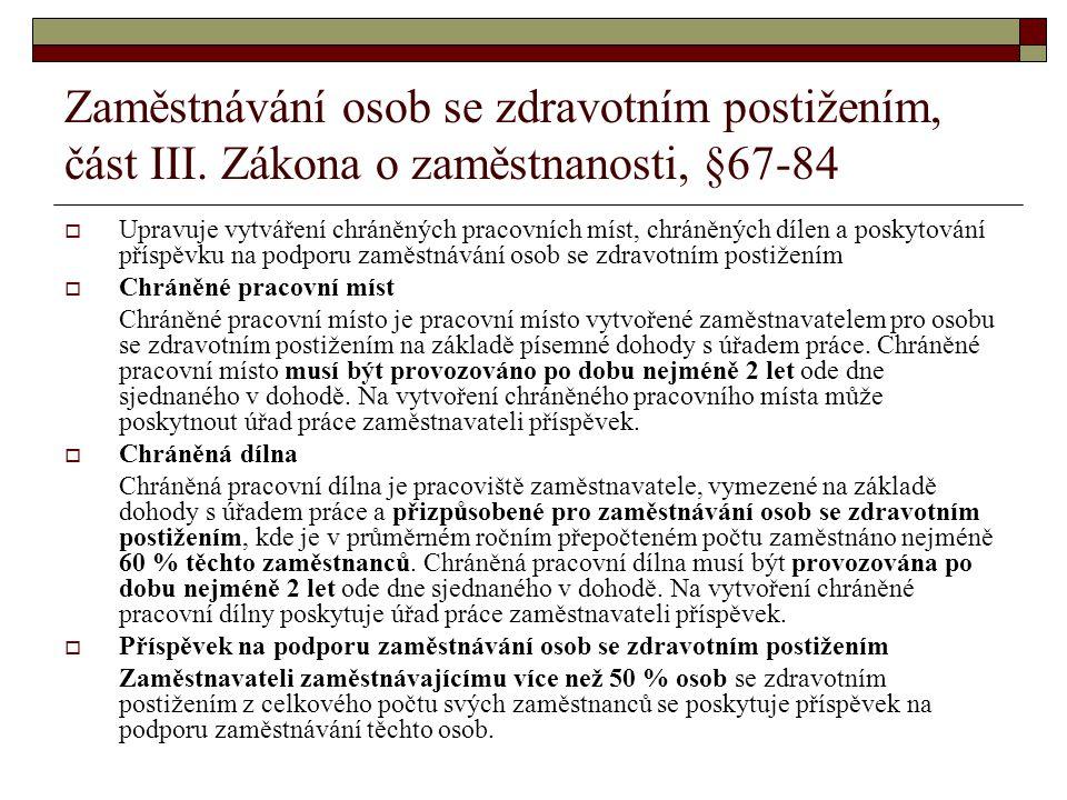 Zaměstnávání osob se zdravotním postižením, část III.