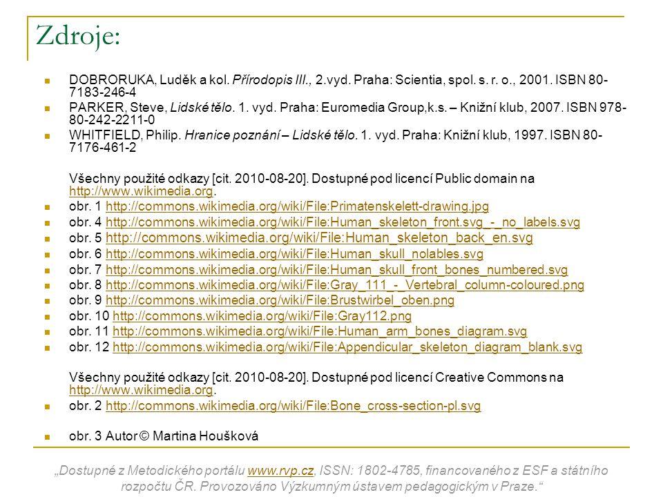 Zdroje: DOBRORUKA, Luděk a kol. Přírodopis III., 2.vyd. Praha: Scientia, spol. s. r. o., 2001. ISBN 80- 7183-246-4 PARKER, Steve, Lidské tělo. 1. vyd.