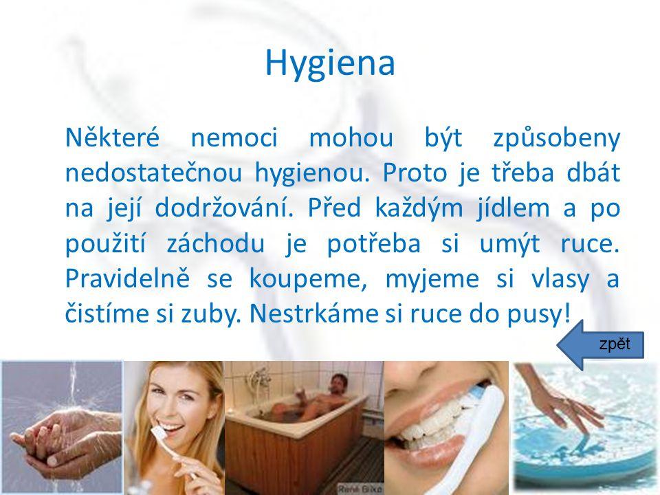 Hygiena Některé nemoci mohou být způsobeny nedostatečnou hygienou. Proto je třeba dbát na její dodržování. Před každým jídlem a po použití záchodu je