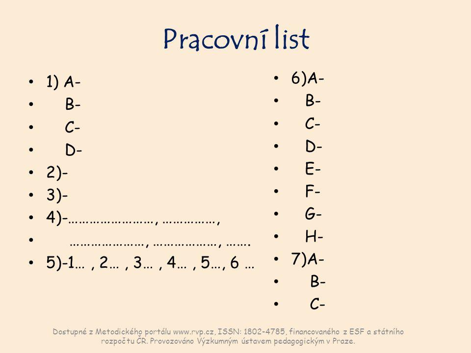 Pracovní list 1) A- B- C- D- 2)- 3)- 4)-……………………, ……………, …………………, ………………, …….