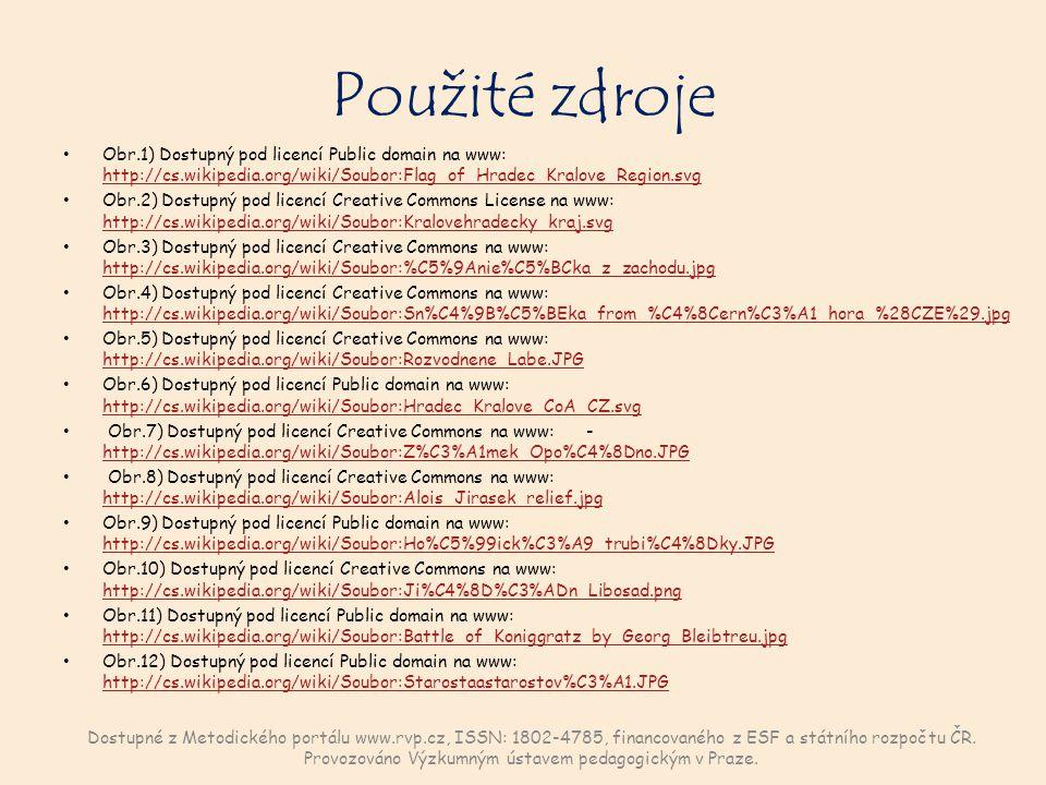Použité zdroje Obr.1) Dostupný pod licencí Public domain na www: http://cs.wikipedia.org/wiki/Soubor:Flag_of_Hradec_Kralove_Region.svg http://cs.wikip