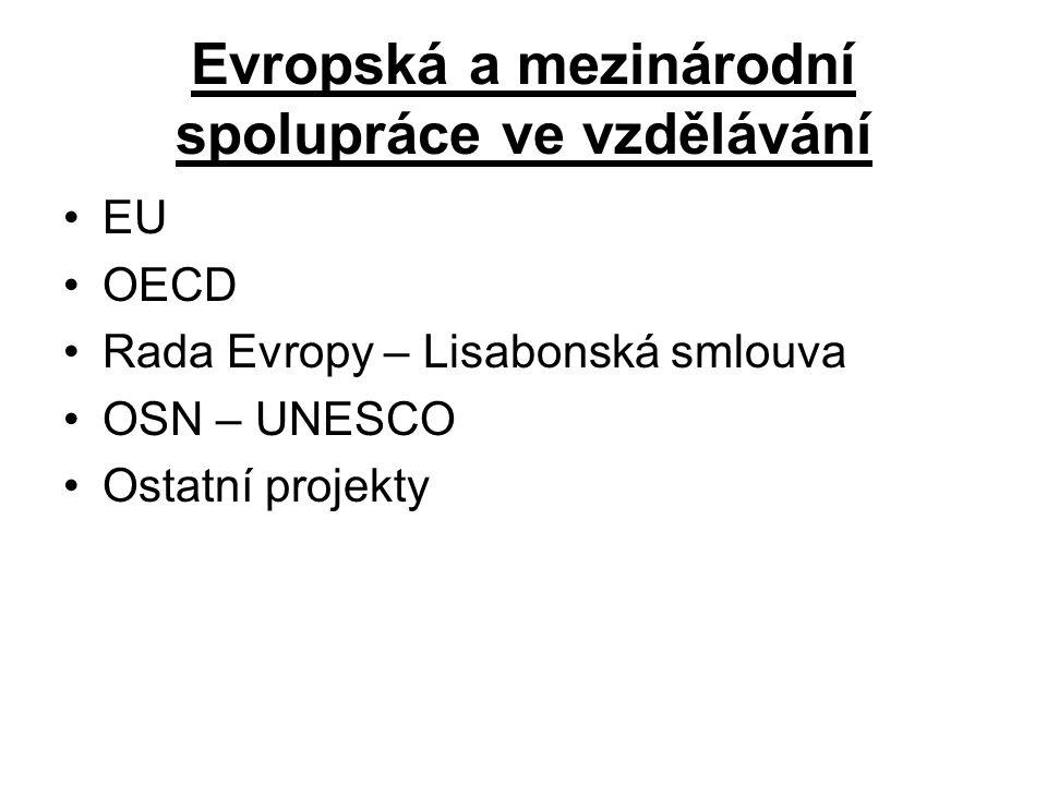 Evropská a mezinárodní spolupráce ve vzdělávání EU OECD Rada Evropy – Lisabonská smlouva OSN – UNESCO Ostatní projekty