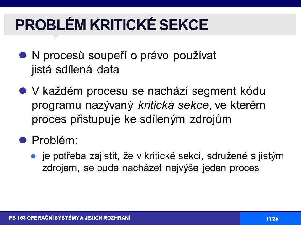 11/35 N procesů soupeří o právo používat jistá sdílená data V každém procesu se nachází segment kódu programu nazývaný kritická sekce, ve kterém proces přistupuje ke sdíleným zdrojům Problém: ●je potřeba zajistit, že v kritické sekci, sdružené s jistým zdrojem, se bude nacházet nejvýše jeden proces PROBLÉM KRITICKÉ SEKCE PB 153 OPERAČNÍ SYSTÉMY A JEJICH ROZHRANÍ