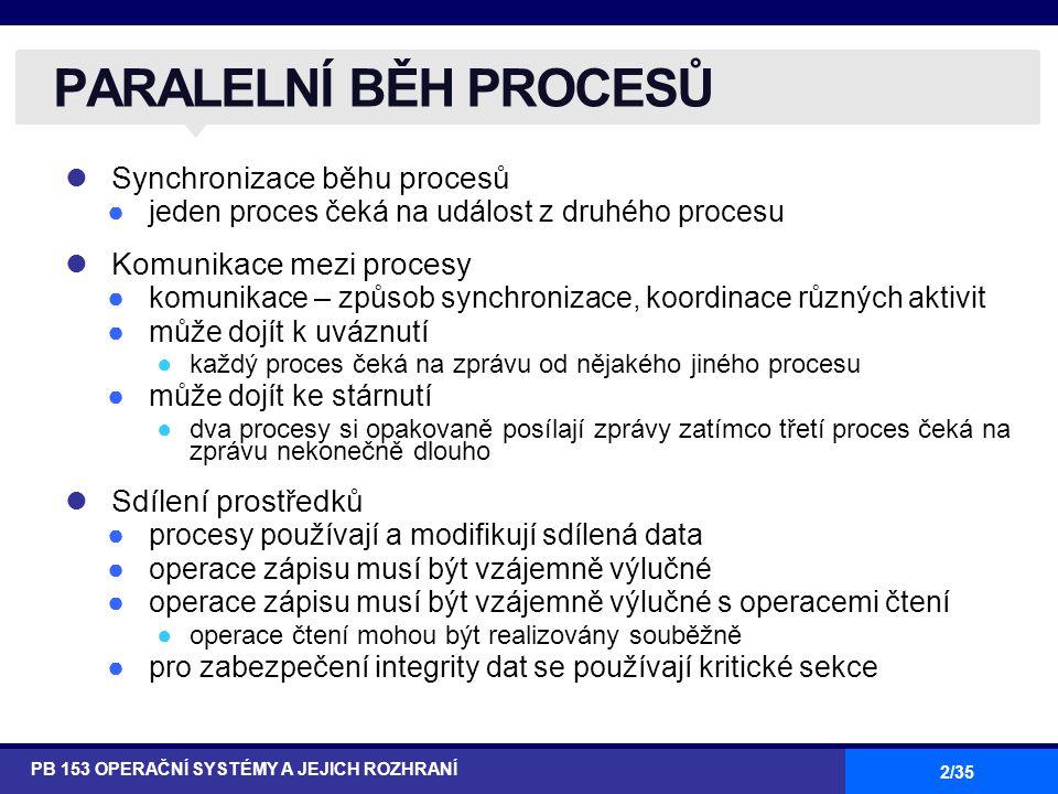 """13/35 Máme pouze 2 procesy, P 0 a P 1 Generická struktura procesu P i do { } while (1); Procesy mohou za účelem dosažení synchronizace svých akcí sdílet společné proměnné Činné čekání na splnění podmínky v """"entry section – """"busy waiting POČÁTEČNÍ NÁVRHY ŘEŠENÍ PB 153 OPERAČNÍ SYSTÉMY A JEJICH ROZHRANÍ entry section critical section exit section reminder section"""