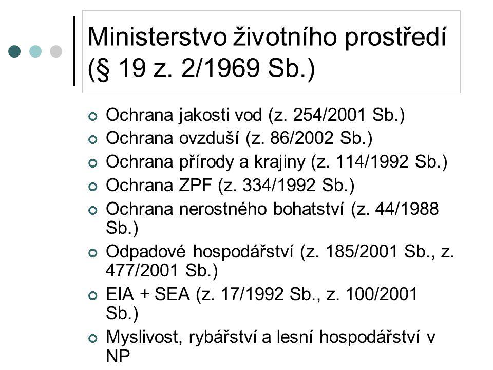 Ministerstvo životního prostředí (§ 19 z. 2/1969 Sb.) Ochrana jakosti vod (z.