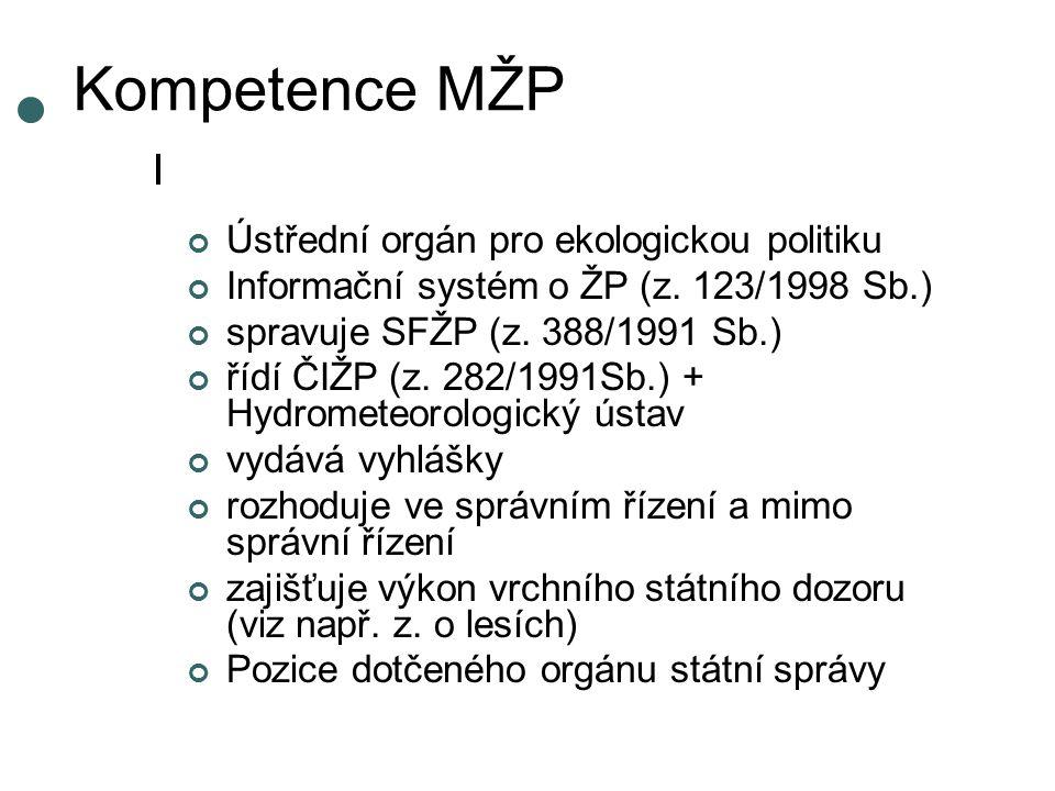Kompetence MŽP Ústřední orgán pro ekologickou politiku Informační systém o ŽP (z.