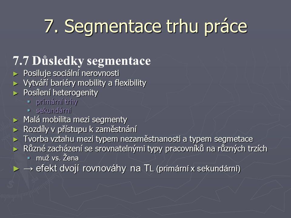 7. Segmentace trhu práce 7.7 Důsledky segmentace ► Posiluje sociální nerovnosti ► Vytváří bariéry mobility a flexibility ► Posílení heterogenity  pri