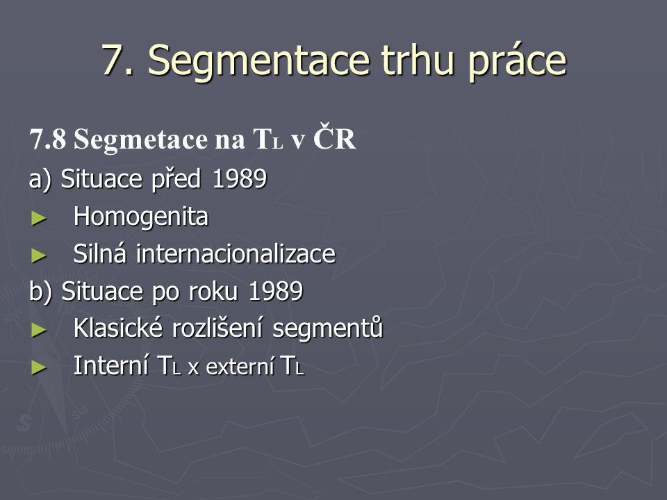 7. Segmentace trhu práce 7.8 Segmetace na T L v ČR a) Situace před 1989 ► Homogenita ► Silná internacionalizace b) Situace po roku 1989 ► Klasické roz