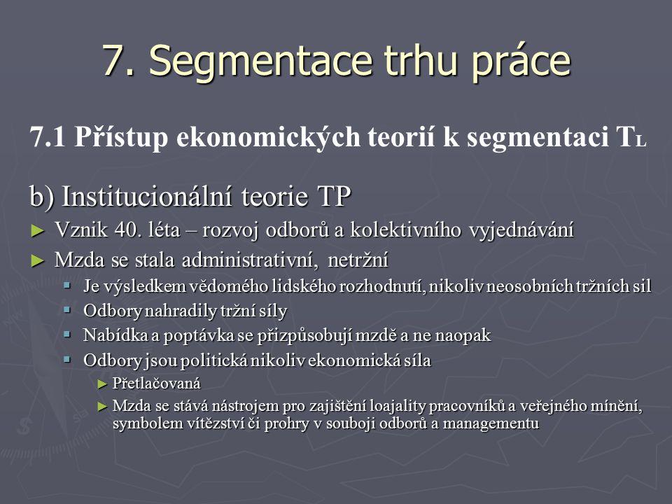7. Segmentace trhu práce 7.1 Přístup ekonomických teorií k segmentaci T L b) Institucionální teorie TP ► Vznik 40. léta – rozvoj odborů a kolektivního