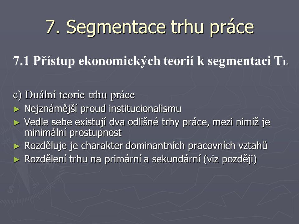 7. Segmentace trhu práce 7.1 Přístup ekonomických teorií k segmentaci T L c) Duální teorie trhu práce ► Nejznámější proud institucionalismu ► Vedle se