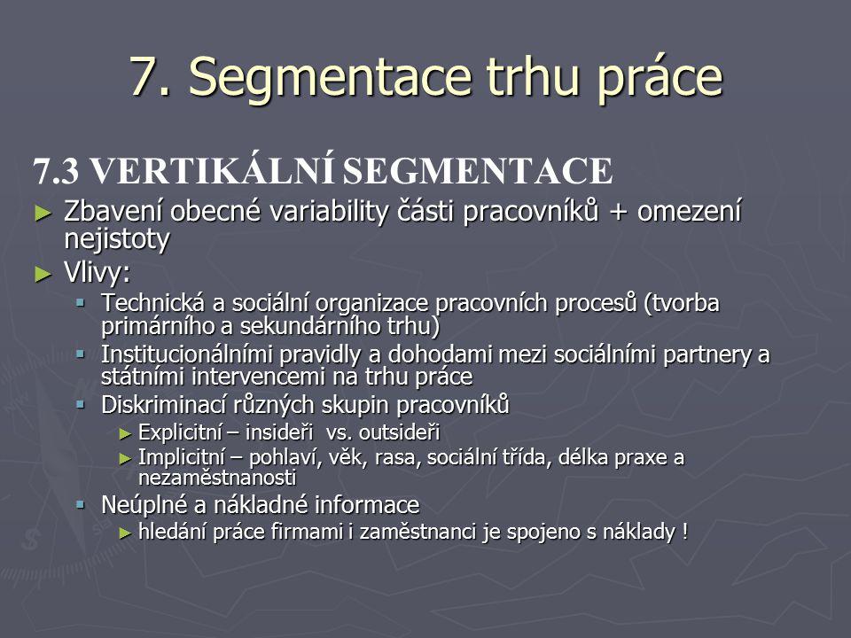 7. Segmentace trhu práce 7.3 VERTIKÁLNÍ SEGMENTACE ► Zbavení obecné variability části pracovníků + omezení nejistoty ► Vlivy:  Technická a sociální o